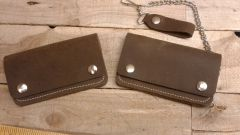 Med Leather Motorcycle Trucker/ Biker american made Leather Wallet/ H-14/15