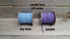Genuine Leather / Suede Lace 1/8 wide, sky blue or purple 50 ft Bracelet Cord/Necklace
