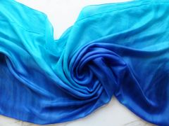 Silk Belly Dance Veil Turquoise and Blue Tie Dye, 5mm 3 Yard