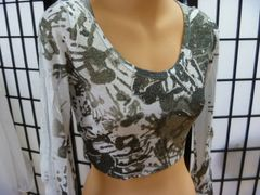 Long Sleeved Silver Metallic Crop Top