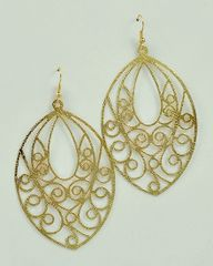 Oval Filigree Earrings, Gold or Silver