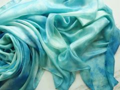 Silk Belly Dance Veil ,Sea Foam Green, Sky Blue and White 5mm