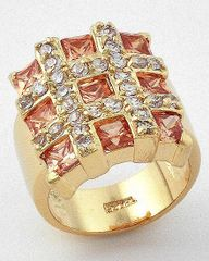 Gold and Topaz Cubic Zirconia Ring Size 9