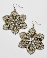 Burnished Brass Star Flower earrings