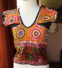 Orange and Black Long Cotton Choli