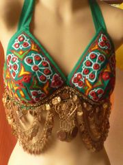 Green Tribal Bra with Copper Coins and Embroidery