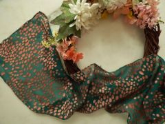 Silk Devore Scarf Winter Green and Soft Salmon