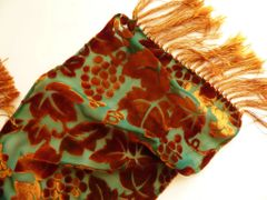 Burnout Velvet Silk Scarf with Fringe