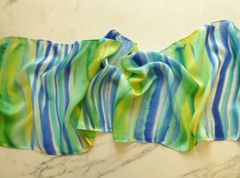 Flat Crepe Silk Scarf Hand Painted Stripes