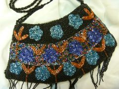 Black Beaded Purse with Fringe
