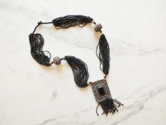 Tribal Necklace Black Seed Beads Statement Neckalce