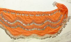 Chiffon Coin Scarf Orange with Silver Coins in Waves