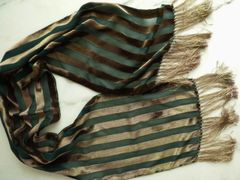 Burnout Silk Velvet Striped Scarf Green and Taupe