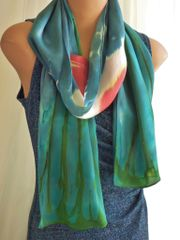Beautiful Hand Painted Silk Scarf Earth and Sun