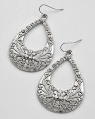 Tear Drop Filigree Earrings in Rhodium and Brurnished Silver