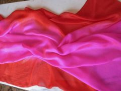 Silk Bellydance veil Bright Pink and Red-Orange