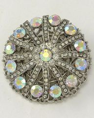 Round Rhinesotne and Silver Tone Flower Brooch