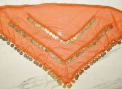 Chiffon, Triangle Coin Scarf Orange with Gold coins