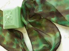 Silk Chiffon Scarf Green and Brown Shibori Scarf