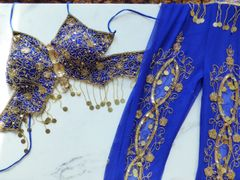 Bollywood Costume Royal Blue with Gold Sequins