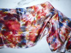 Silk Satin Hand Dyed Scarf Multi Colored Silk