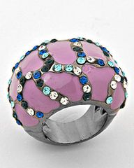 Lavender Ring with Multi Colored Rhinestones. Size 8