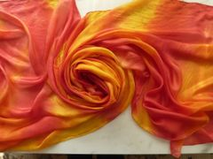 Silk Bellydance Veil Red and Yellow 3 yard 5mm