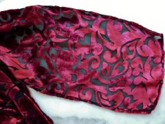 Cut Velvet Scarf Red and Black Baroque