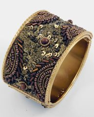 Brown Sequin Cuff Bracelet