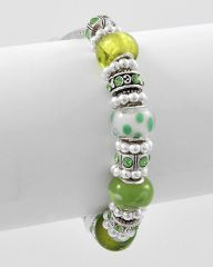 Green and White Pandora Glass Bracelet
