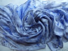 Silk Belly Dance Veil 3 yard 5mm Silk Veil Silver and Blue