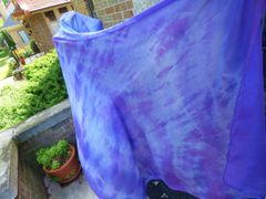 Silk Belly Dance Veil 3 yard 5mm Purple and Lavender Tie Dye