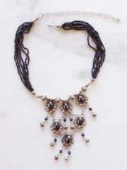 Black and Silver Chandelier Necklace, Tribal Necklace