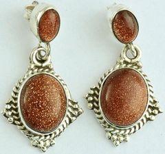 Sterling Silver & Sun Stone Earrings