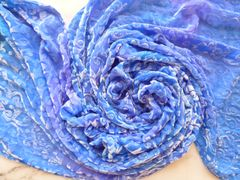 Large Cut Velvet Blue Silk Scarf With Fringe