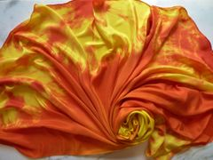 Half Circle Silk Belly Dance Veil Yellow and Orange 8mm