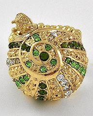 Gold Snail Ring with Green and Clear Rhinestones