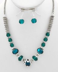 Teal Glass Pandora Crystal Necklace and Earrings