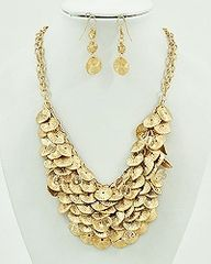 Cascade Coin Style Necklace and Earring Statement Necklace Set