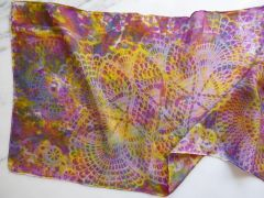 Hand Dyed Silk Scarf, Solara Lace