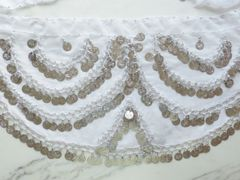 Chiffon Coin Scarf Pink or White,Silver Coins, Double Scallop Design