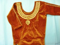 XS or Chil'ds Stretch Velvet Choli Rust with Gold metallic Embroidery