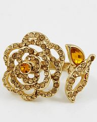 Gold tone and Topaz Adjustable flower Ring