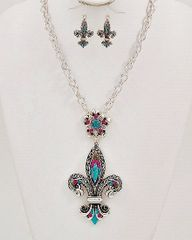 Fleur De Lis Necklace and Earring Set