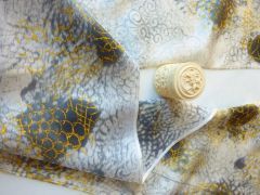 Satin Scarf Gold and Gray Silk Scarf