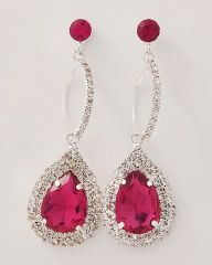Deep Pink Tear Drop Earrings