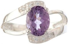 Sterling Silver and Faceted Amethyst Ring with Cubic Zirconia
