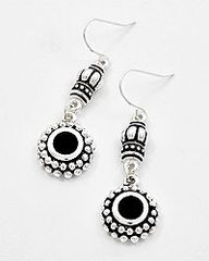 Dainty Antique Silver Tone and Black Earrings