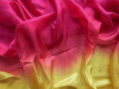 Silk Bellydance Veil 5mm Raspberry and Gold