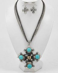 Turquoise and Two Tone Cross Necklace and Earrings
